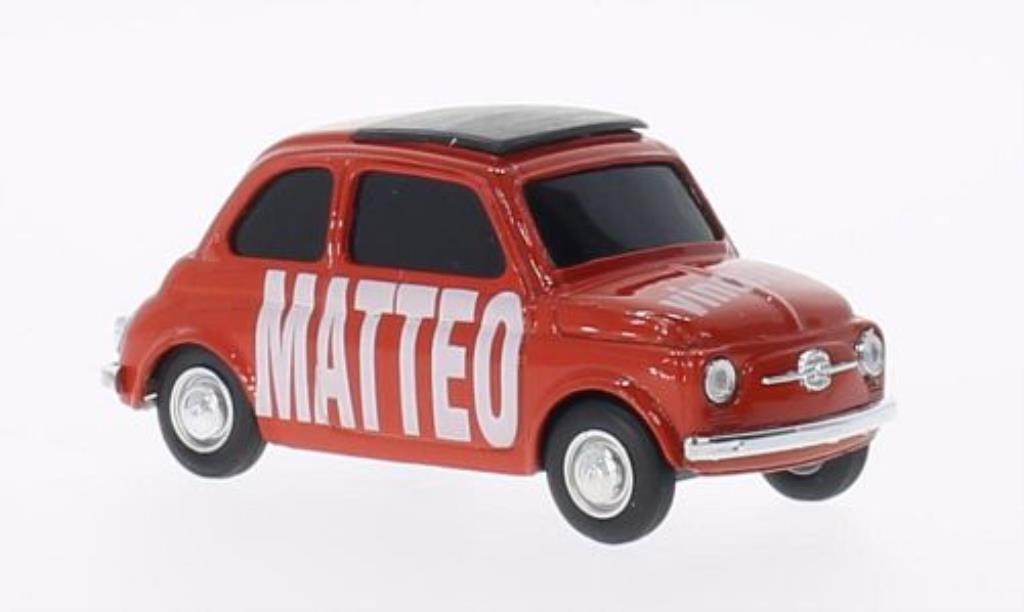 Fiat 500 1/43 Brumm MATTEO vincere! rouge-orange miniature