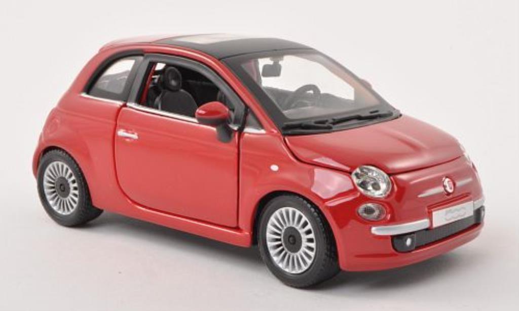 Fiat 500 1/24 Burago red 2007 diecast model cars