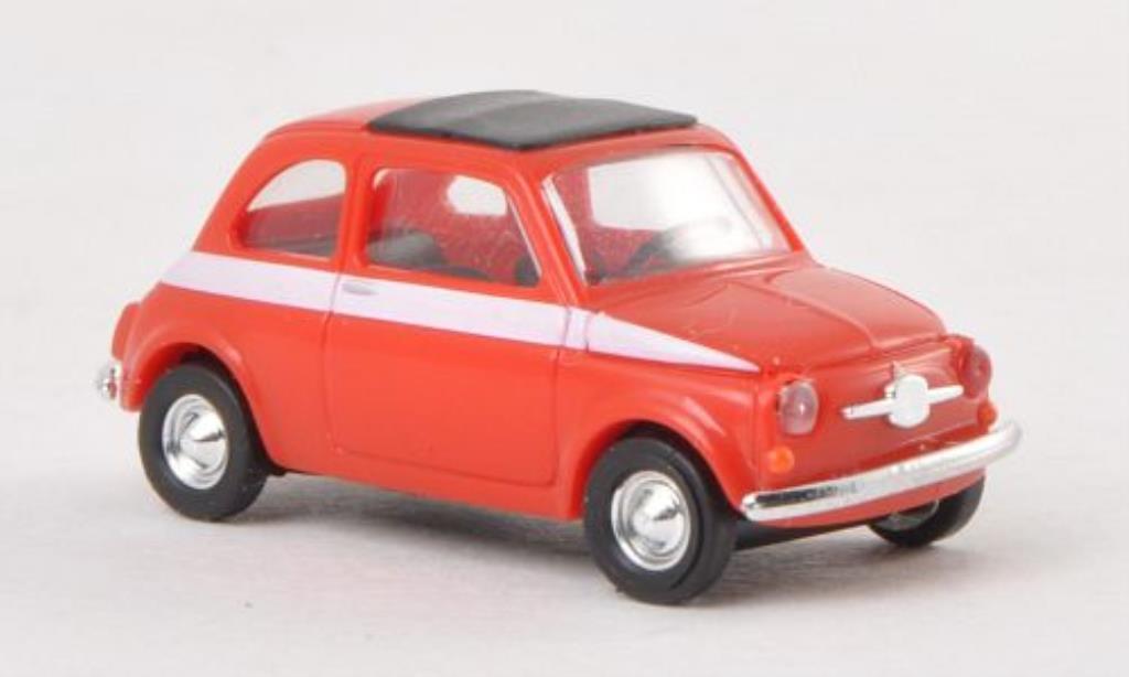 Fiat 500 Sport 1/87 Busch rosso/bianca 1965 miniatura