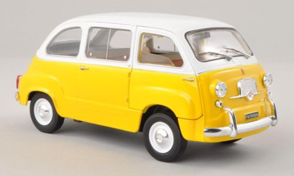 Fiat 600 1/24 WhiteBox Multipla jaune/blanche 1960 miniature