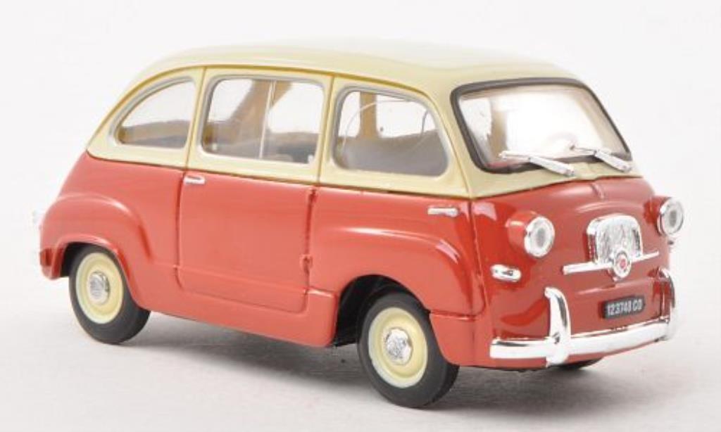 Fiat 600 1/43 Brumm Multipla rouge/beige 1956 miniature