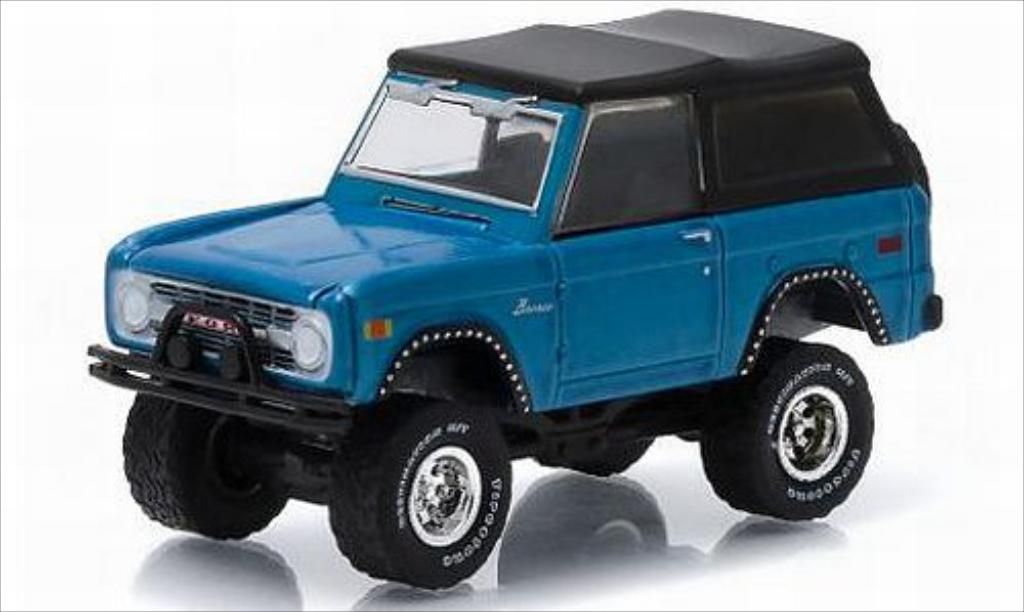 Ford Bronco 1/64 Greenlight metallise bleu 1975 miniature