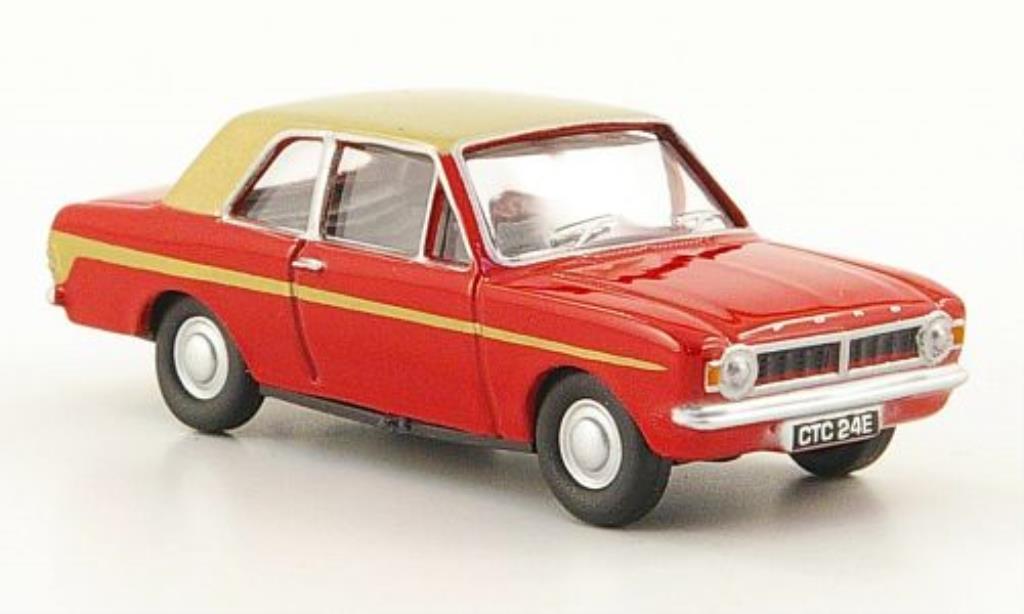 Ford Cortina 1/76 Oxford MKII rouge/gold miniature