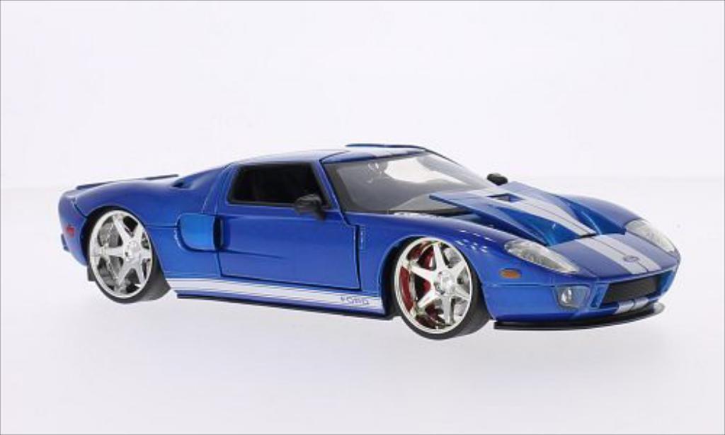 Ford GT 1/24 Jada Toys metallic-bleu/blanche Furious 7 2005 miniature