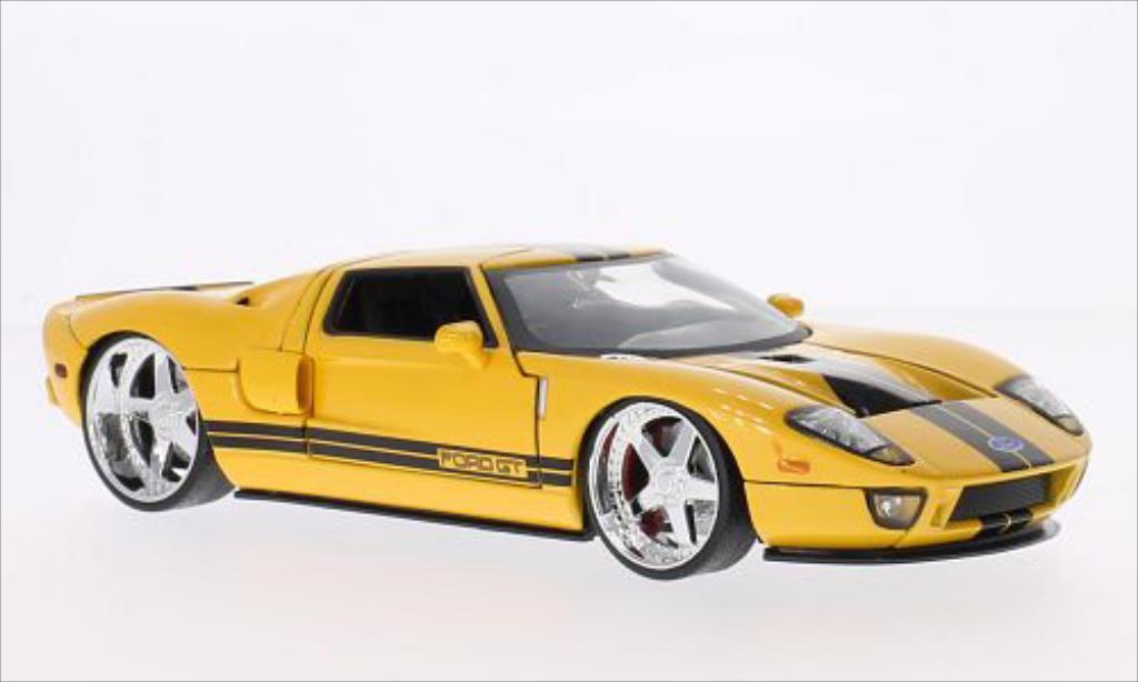 Ford GT 1/24 Jada Toys Tuning metallic-gelb/schwarz 2005 modellautos