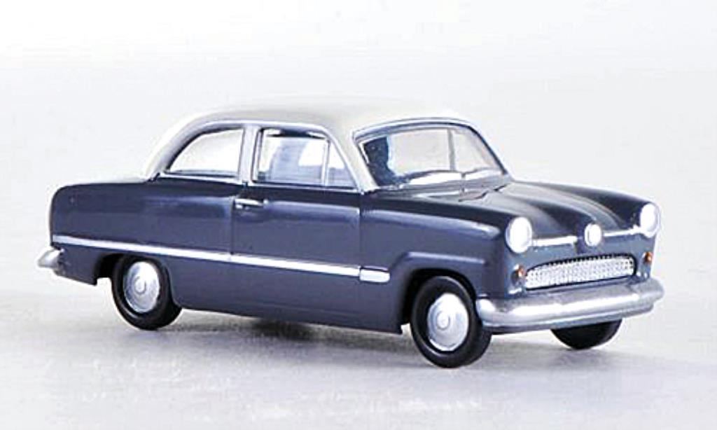 Ford Taunus 1/87 Herpa 12M grise/blanche miniature
