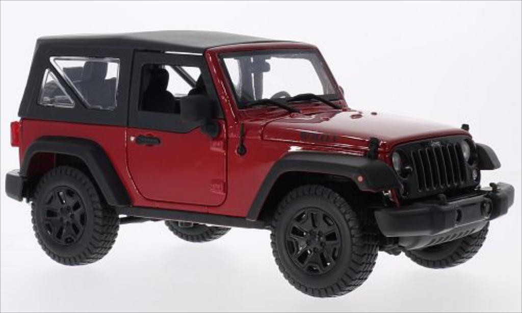Jeep Wrangler 1/18 Maisto rouge/noire 2014 miniature