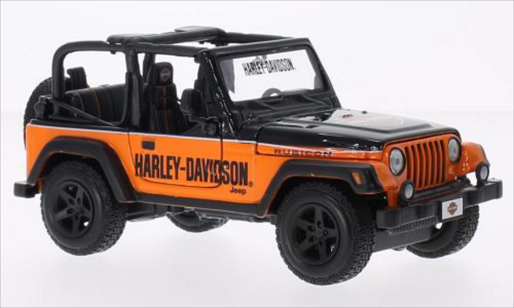 Jeep Wrangler 1/24 Maisto Rubicon noire/orange Harley Davidson 2014 miniature