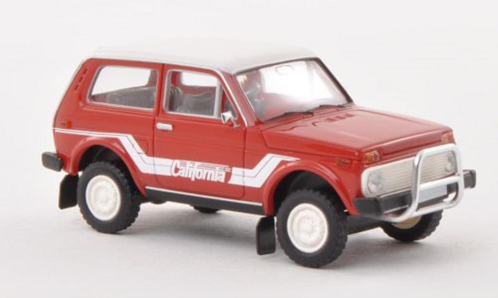 Lada Niva 1/87 Brekina California rouge/blanche miniature