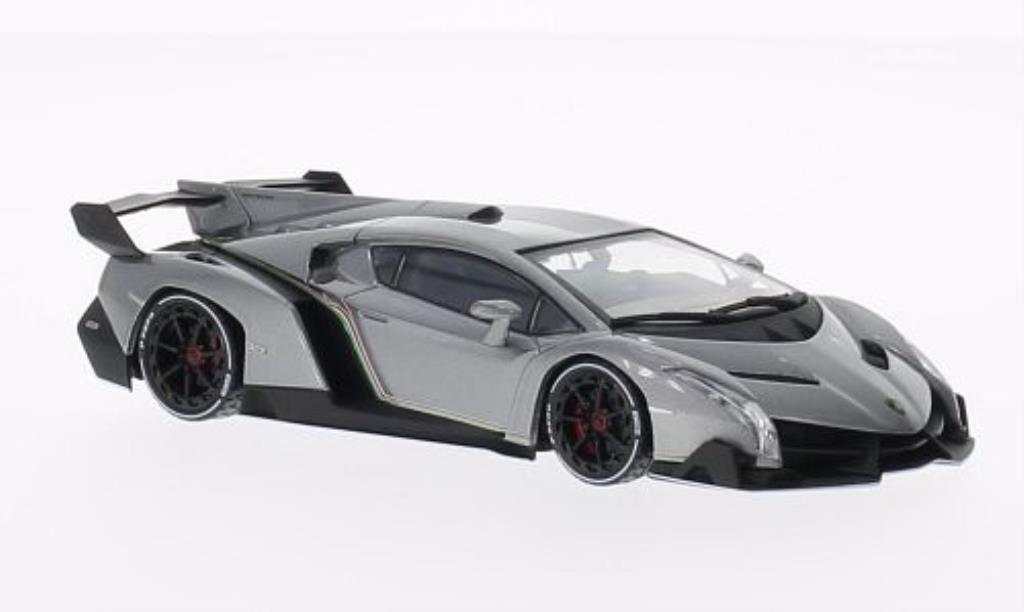 Lamborghini Veneno 1/43 Kyosho grise mit blancheem Dekor-Streifen