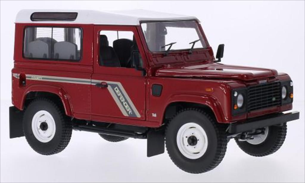 Land Rover Defender 1/18 Universal Hobbies 90 Station Wagon rouge/blanche RHD miniature