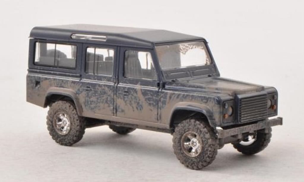 Land Rover Defender 1/87 Busch bleu mit Schlammspuren diecast
