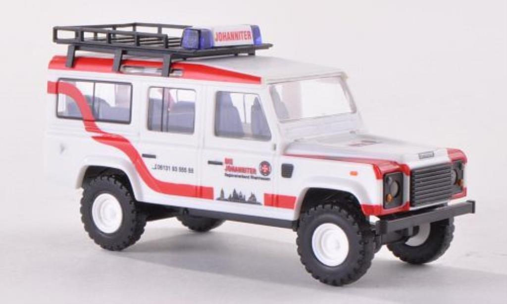 Land Rover Defender 1/87 Busch mit Dachgepacktrager Johanniter 1983 modellino in miniatura