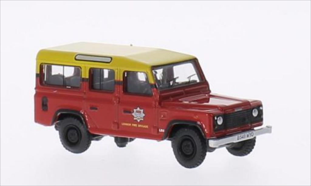 Land Rover Defender 1/76 Oxford Station Wagon RHD London Fire Brigade miniatura