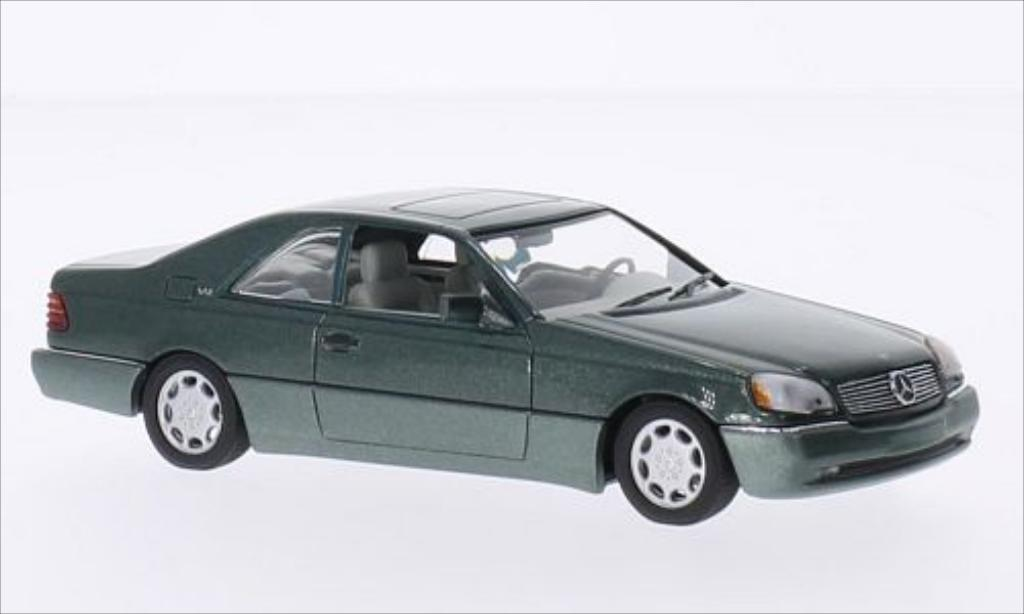 Mercedes 600 1/43 Minichamps SEC Coupe (C140) metallise grun 1992 diecast model cars