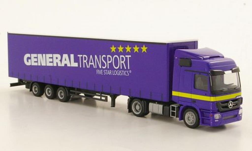 Mercedes Actros 1/87 Herpa L General Transport Lowliner-Sattelzug coche miniatura