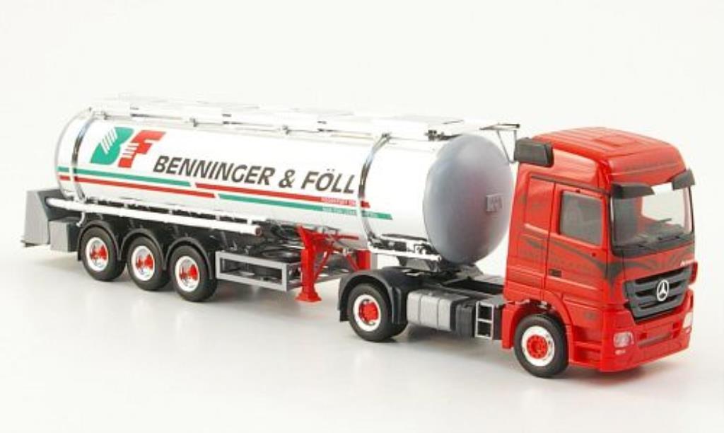 Mercedes Actros 1/87 Herpa LH 08 Benninger & Foll Lebensmittelchromtank-SZ miniature