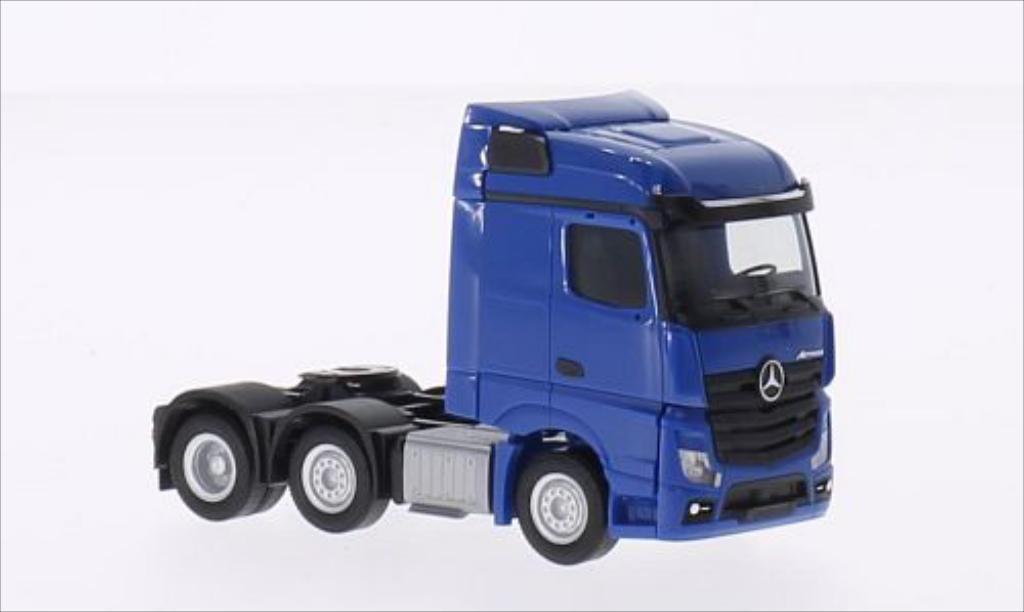 Mercedes Actros 1/87 Herpa Streamspace 6x2 bleu miniature
