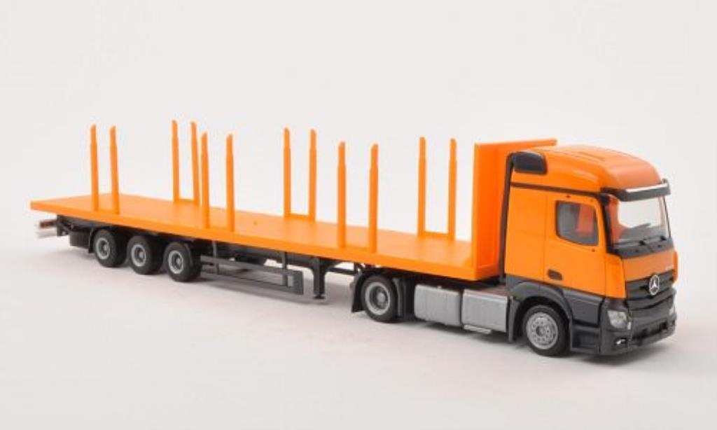 Mercedes Actros 1/87 Herpa Streamspace orange Lowliner-Rungen -SZ miniature