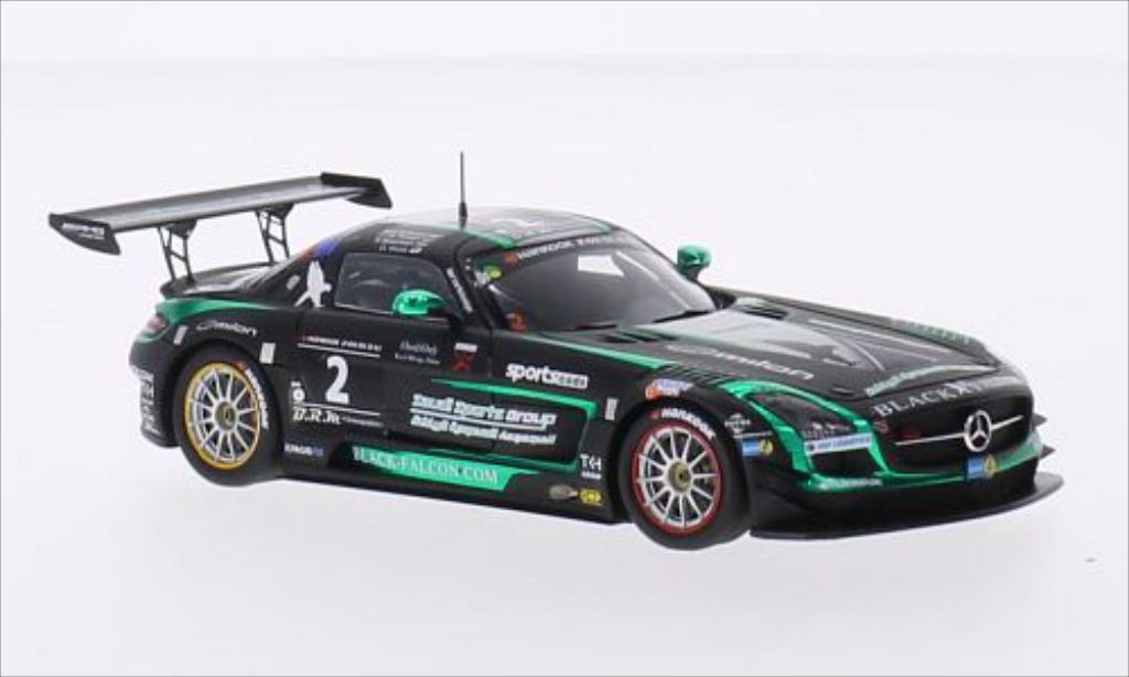 Mercedes SLS 1/43 Spark AMG GT3 No.2 Black Falcon Racing 24h Dubai 2015 miniature