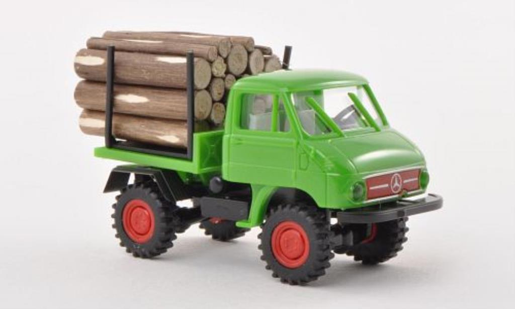 Mercedes Unimog 1/87 Brekina 411 grun mit Holzladung miniature