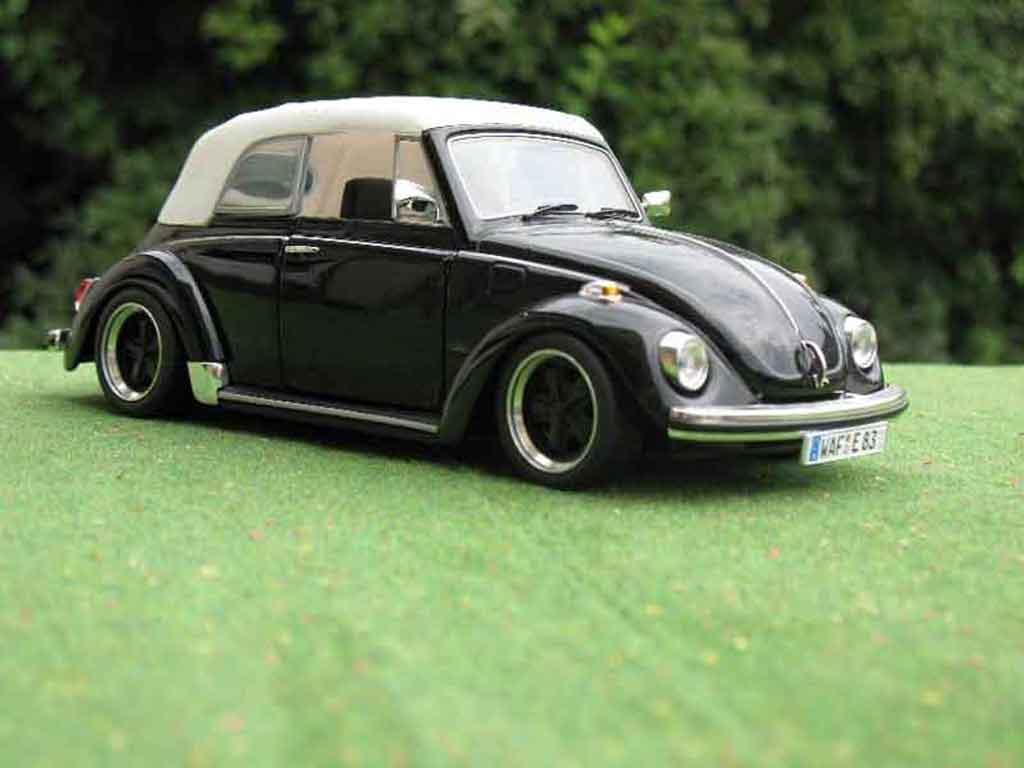 Volkswagen Kafer 1/18 Solido Coccinelle Cabriolet noire jantes fuchs miniature