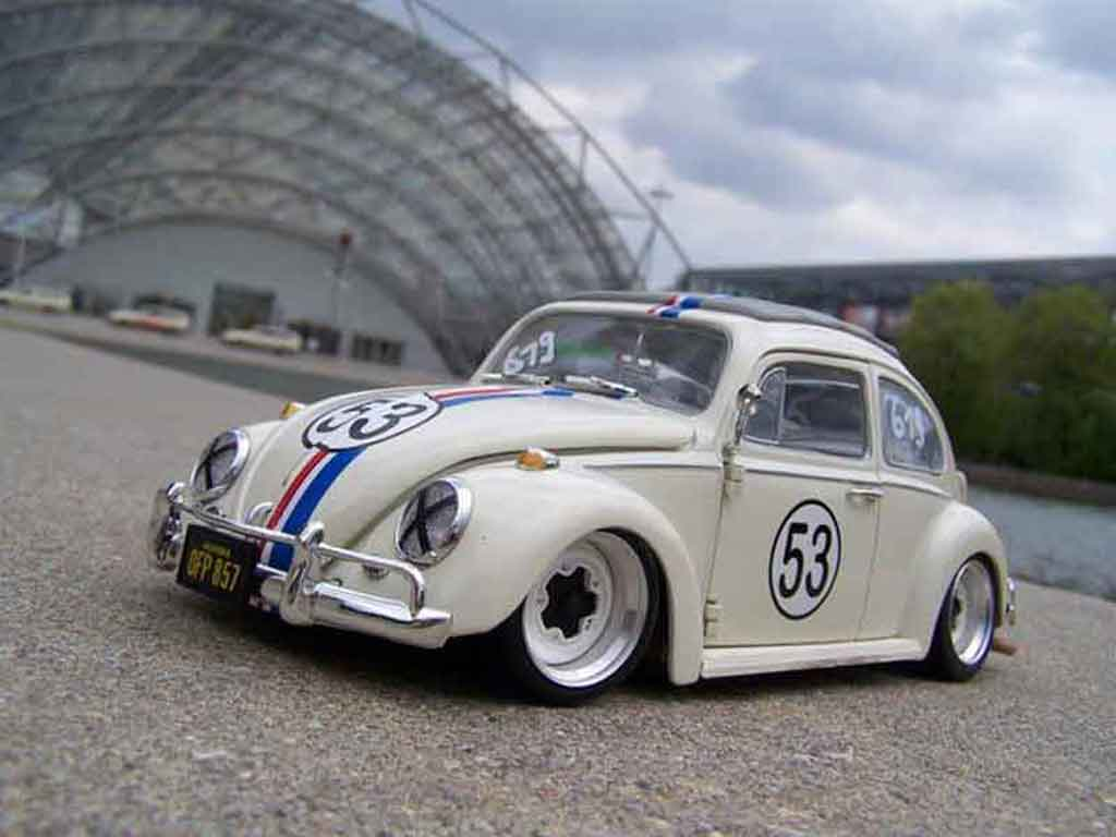 Volkswagen Kafer Herbie 1/18 Burago coxinelle jantes bords larges miniature