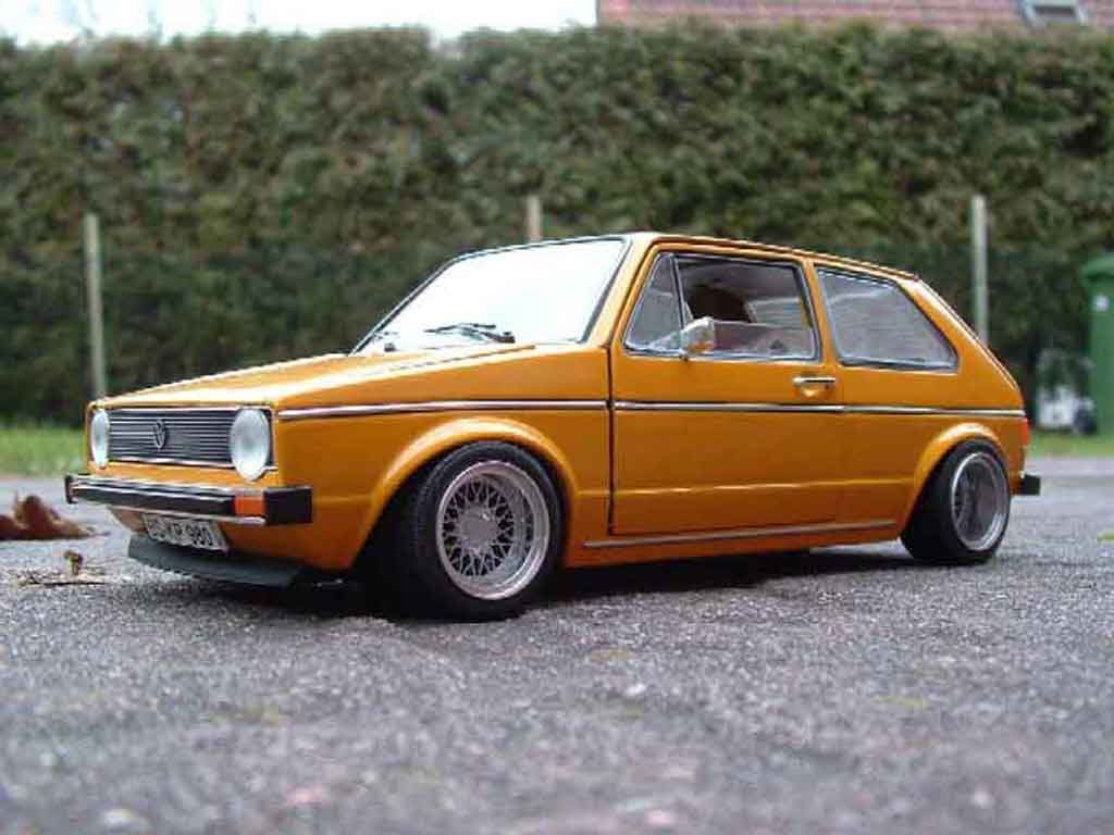 Volkswagen Golf 1 GTI 1/18 Solido jantes BBS tuning orange miniature