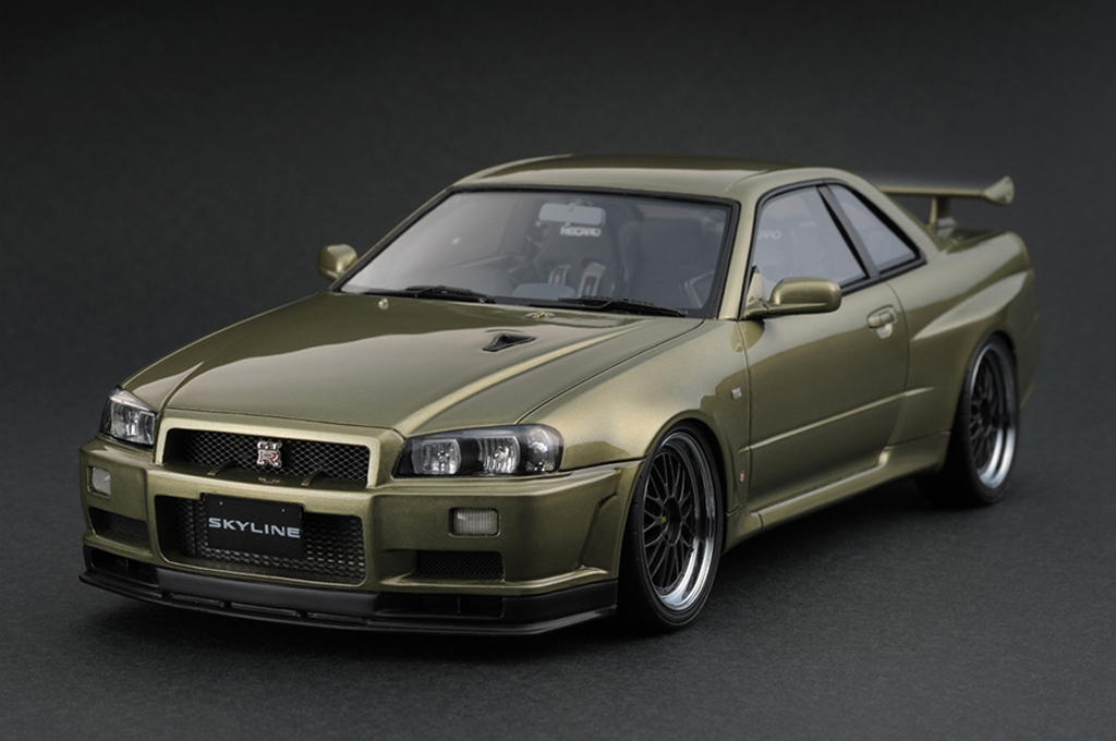 Nissan Skyline R34 1/18 Ignition Model GTR V-spec II Millennium Jade IG0163 miniature