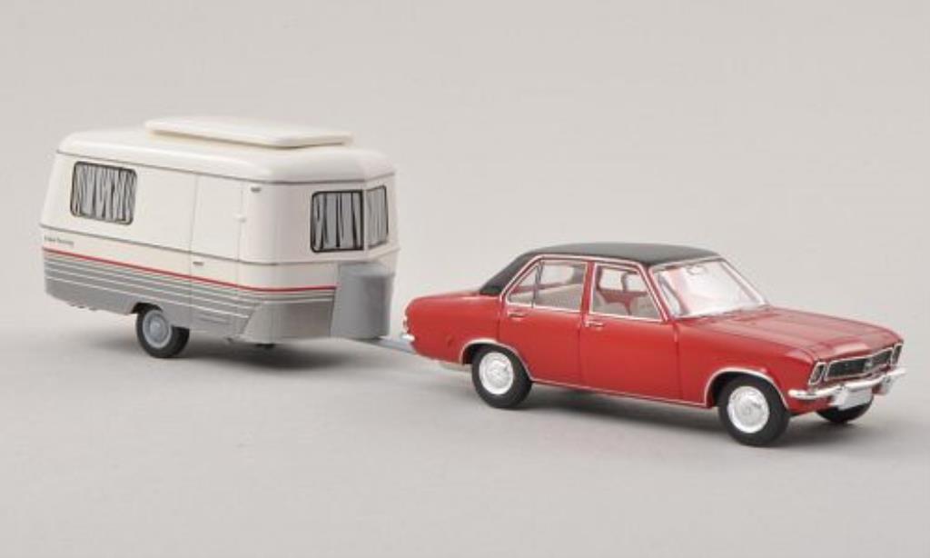 Opel Ascona A 1/87 Brekina rouge/noire mit Eriba Wohnwagen miniature