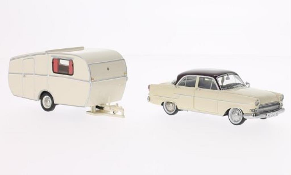 Opel Kapitan 1/43 Schuco beige/rouge mit Dethleffs Globetrougeter Wohnanhanger miniature