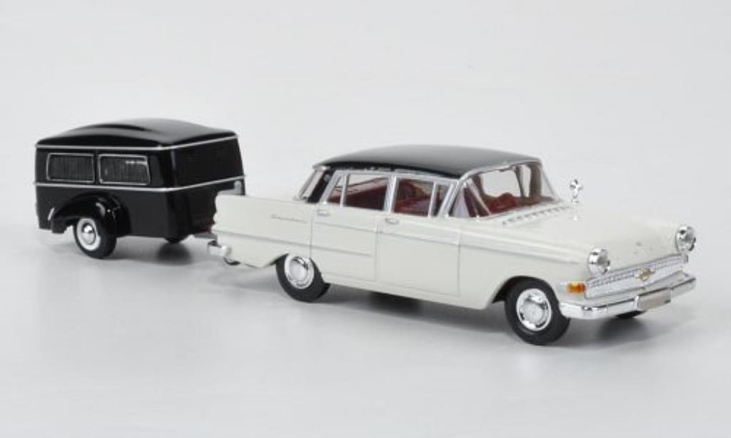 Opel Kapitan 1/87 Brekina P2.6 blanche/noire mit Westfalia Bestattungsanhanger miniature