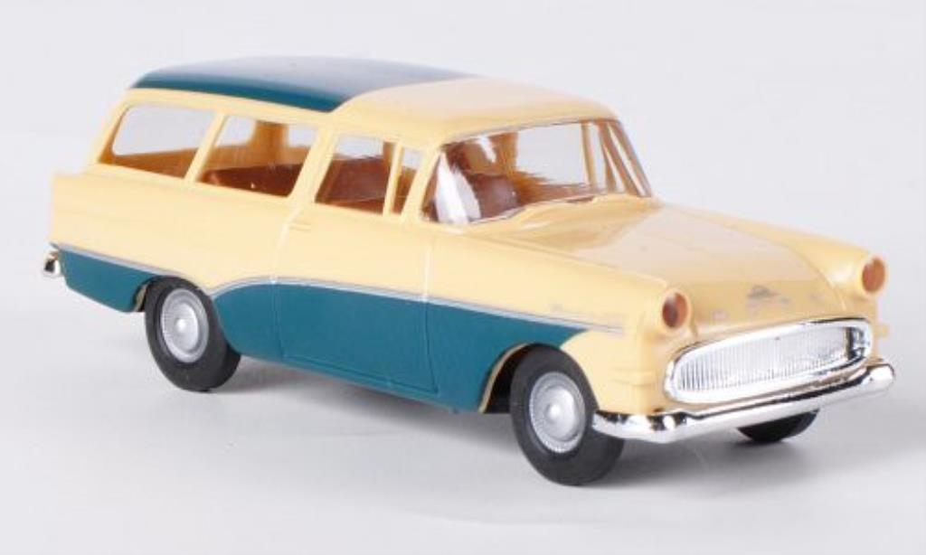 Opel Rekord 1/87 Brekina P1 Caravan beige/bleu-verte miniature