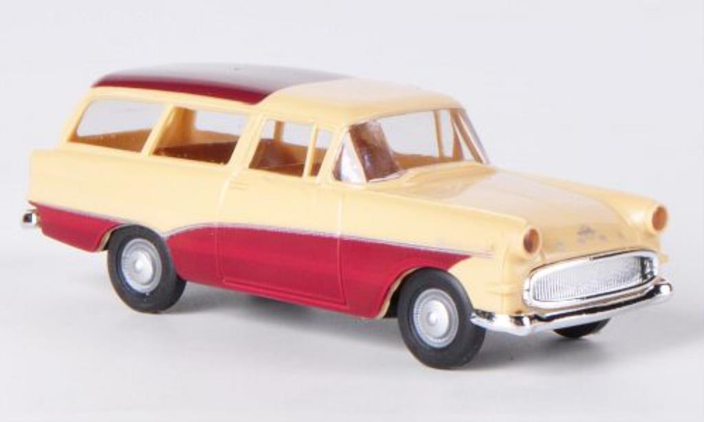Opel Rekord 1/87 Brekina P1 Caravan beige/rouge miniature