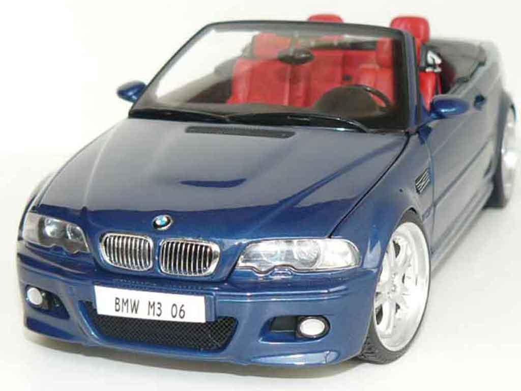 Bmw M3 E46 cabriolet 1/18 Kyosho bleue jantes 19 pouces miniature
