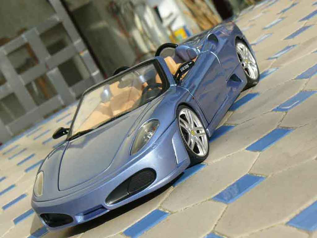 Ferrari F430 spider 1/18 Hot Wheels bleu metallized diecast