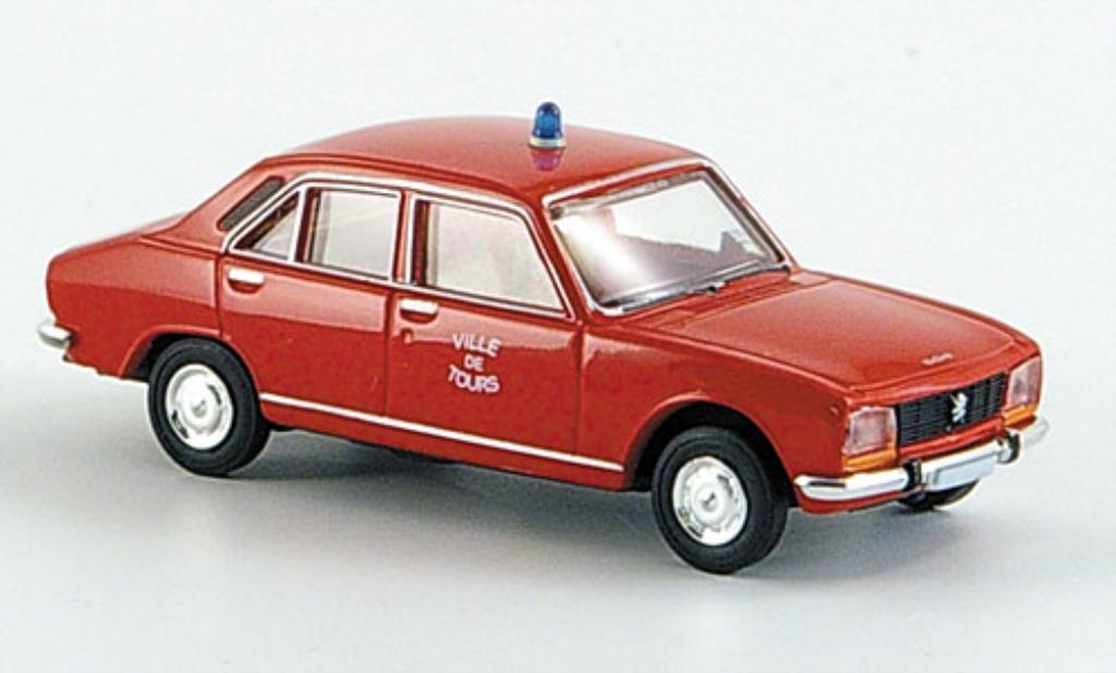 Peugeot 504 Berline 1/87 Brekina Ville de Tours Feuerwehr-Limousine miniature