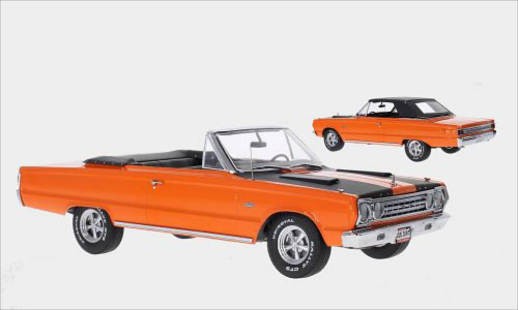 Plymouth Belvedere 1/18 Greenlight GTX Convertible orange/matt-noire 1967 miniature