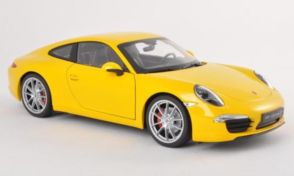 Porsche 991 S 1/18 Welly Carrera yellow diecast model cars