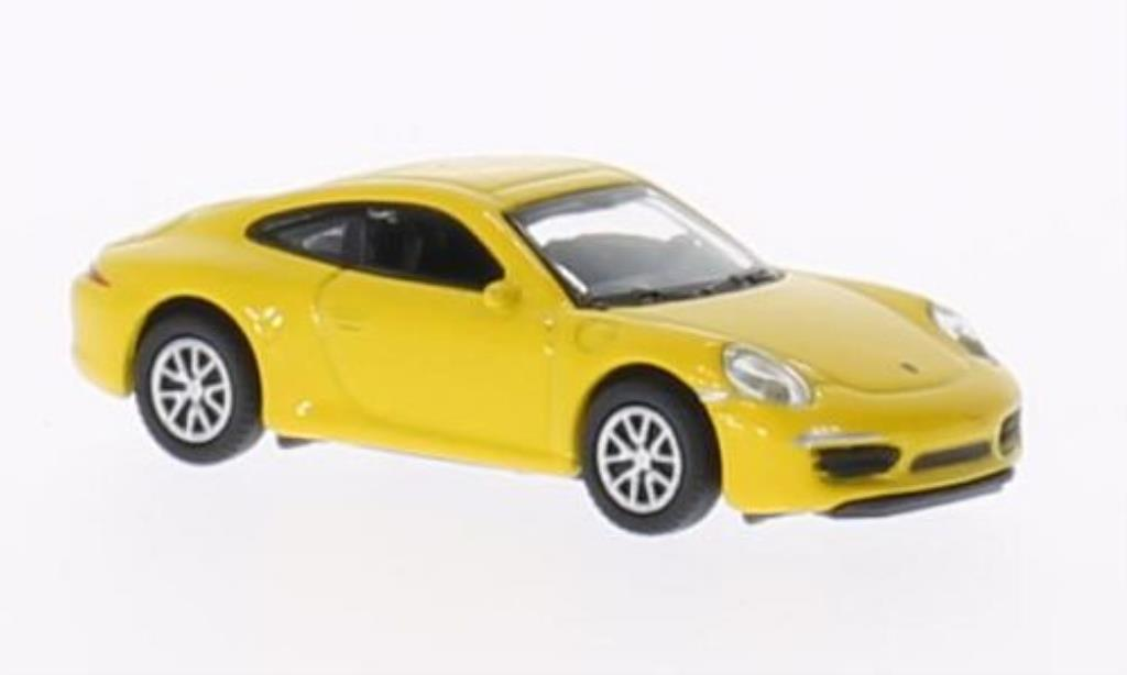 Porsche 991 Carrera 1/87 Welly S jaune miniature
