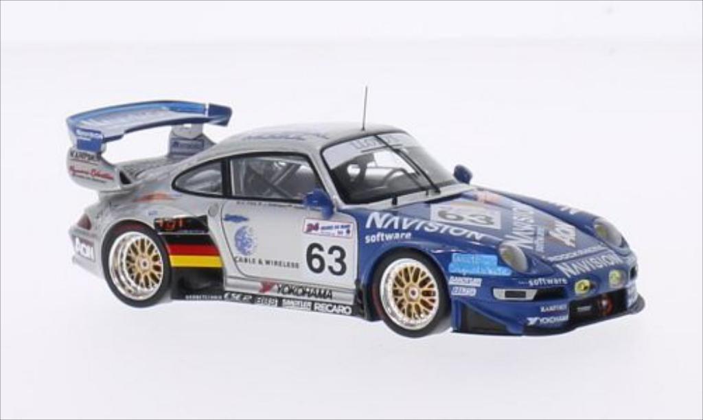 Porsche 993 GT2 1/43 Spark No.63 Roock Racing Navision 24h Le Mans 1999 /J.Robinson modellino in miniatura