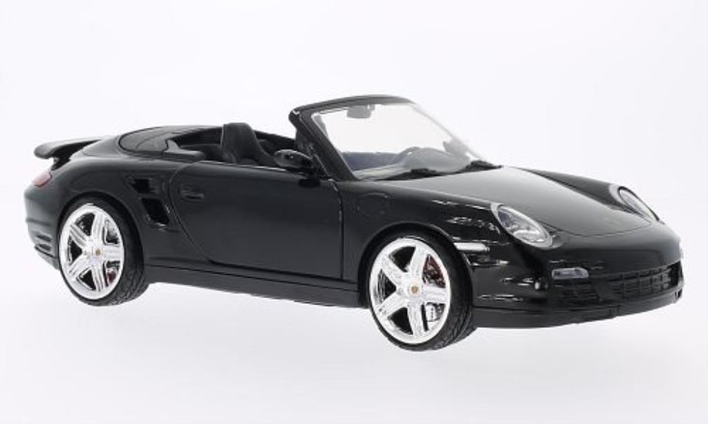 Porsche 997 Turbo 1/18 Motormax Cabriolet noire miniature