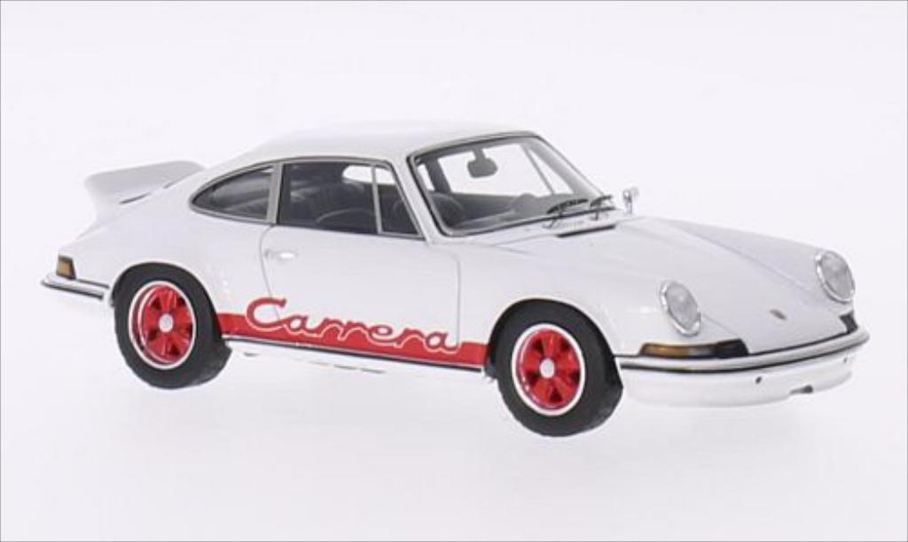 Porsche 911 1/43 Spark Carrera 2.7 blanche/rouge 1973 miniature