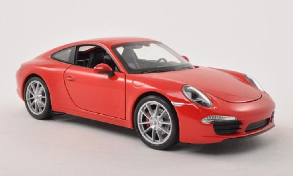 Porsche 991 S 1/24 Welly Carrera rouge miniature