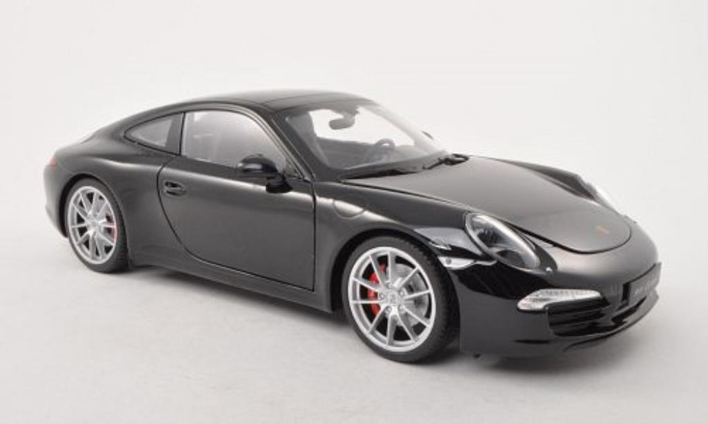 Porsche 991 S 1/18 Welly Carrera black diecast model cars