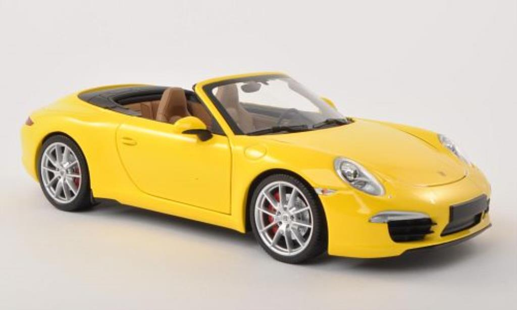 Porsche 991 S 1/18 Minichamps Carrera Cabriolet yellow 2011 diecast model cars