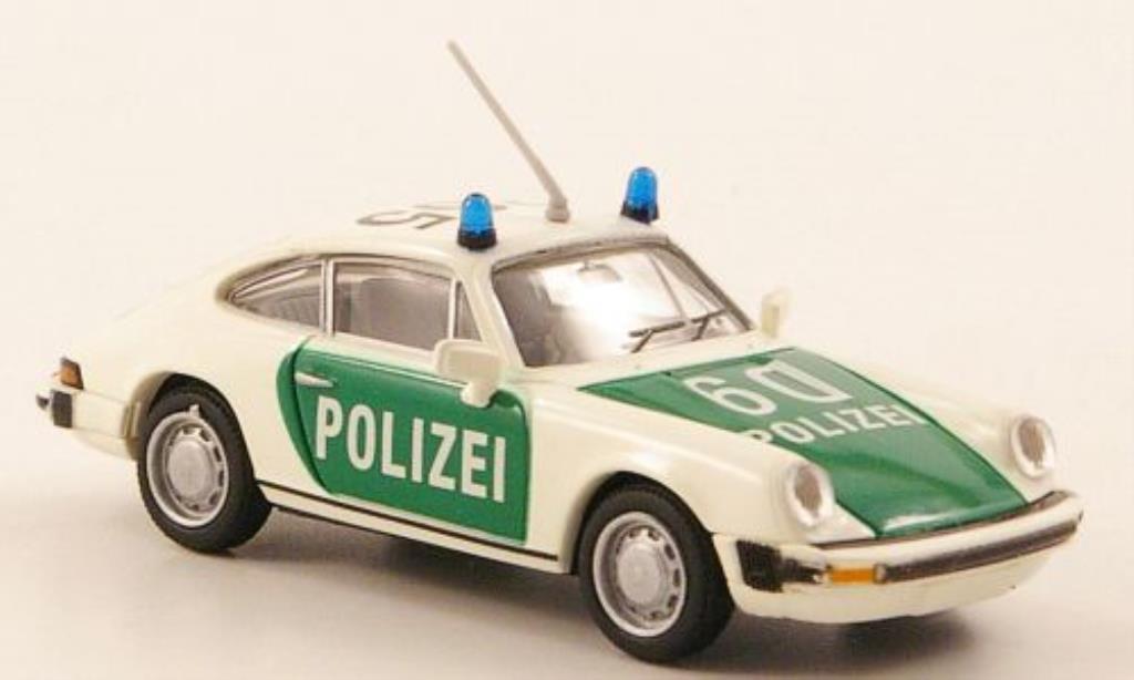 Porsche 911 1/87 Brekina Coupe (G-Reihe) Polizei blanche/verte