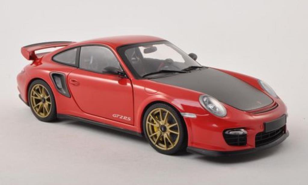 Porsche 997 GT2 1/18 Minichamps rouge/carbon mit goldenen Felgen 2011 miniature