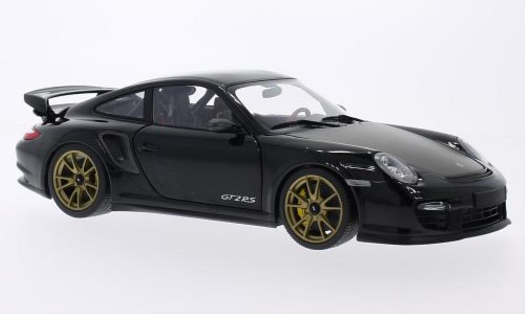 Porsche 997 GT2 1/18 Minichamps black mit goldenen Felgen 2011 diecast model cars