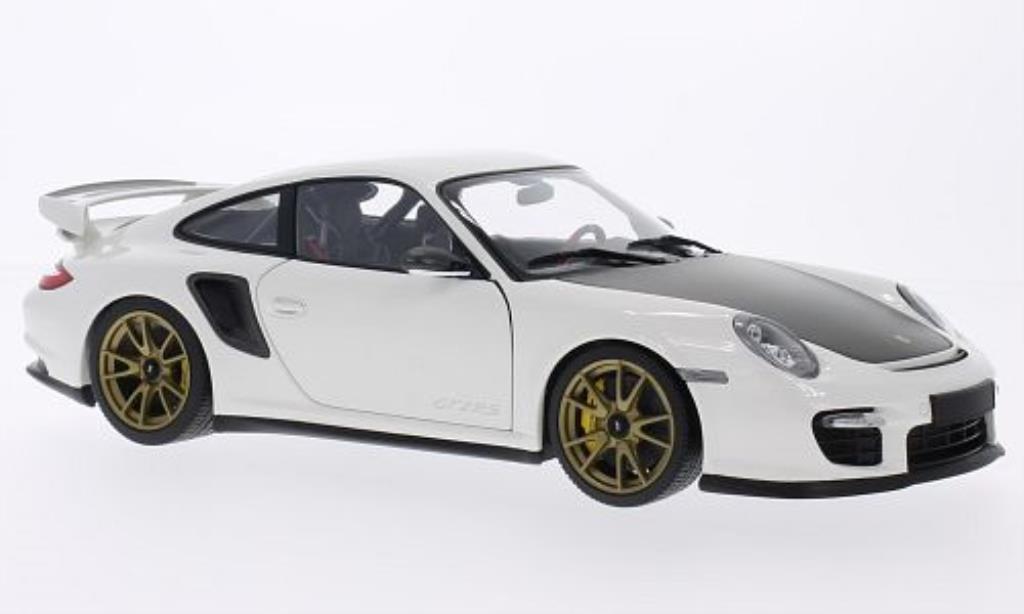 Porsche 997 GT2 1/18 Minichamps blanche mit goldenen Felgen 2011